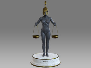 3D female zodiac sign libra model