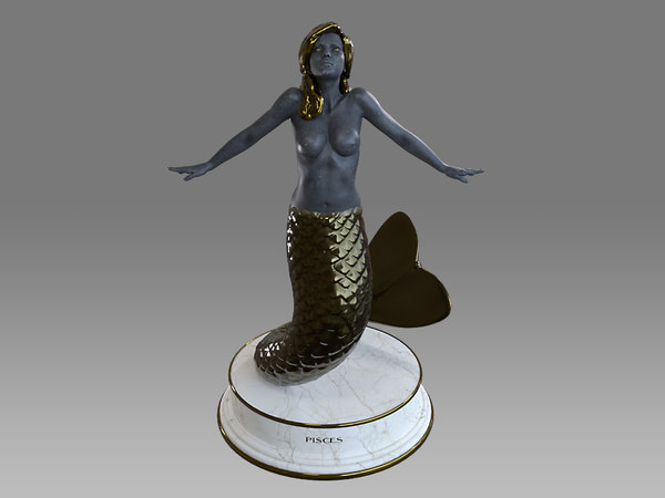 female zodiac sign pisces 3D model