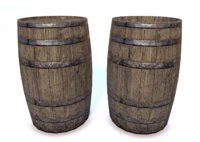 low-poly wood barrel 3D model