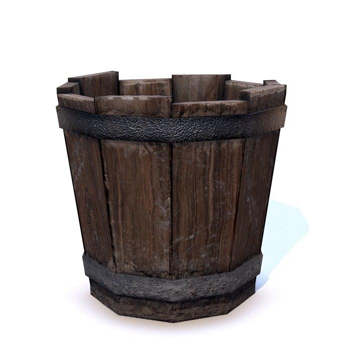 low-poly wood bucket 3D model