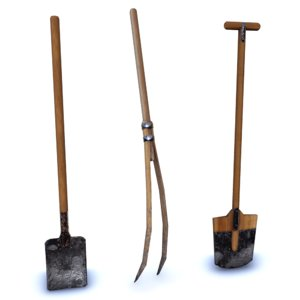 low-poly medieval tools 3D model