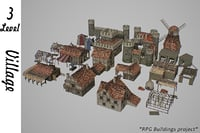 3D medieval village buildings model