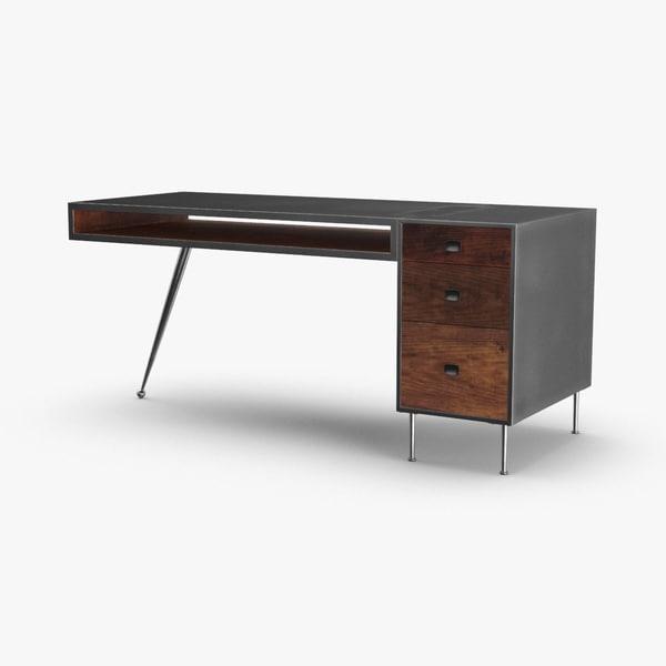 3D mid-century-modern-desk
