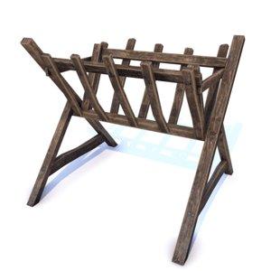 3D medieval hay feeder