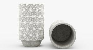 3D modern concrete vase model