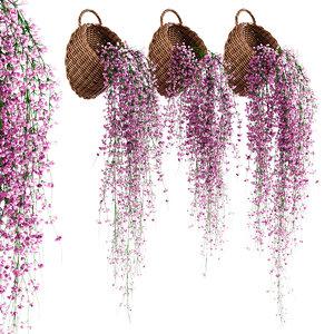 hanging plants wicker pots 3D model