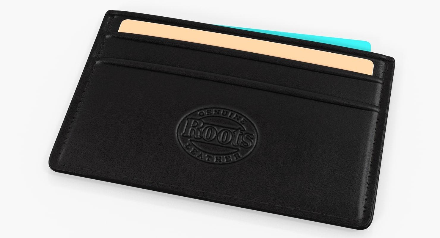 black leather card holder 3D model