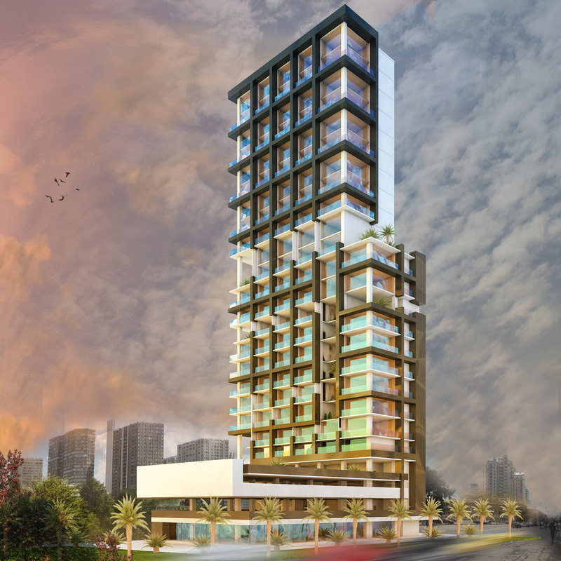 scene modern skyscraper building 3D
