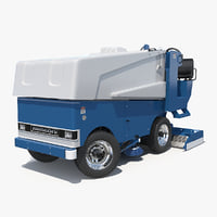 Electric Ice Resurfacer Machine Zamboni Rigged 3D Model