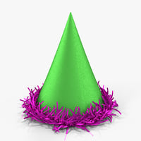 3D model party hat metallic tinsel
