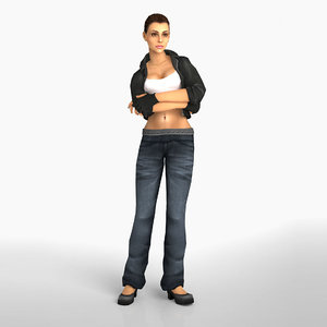 3D woman rigged animation character