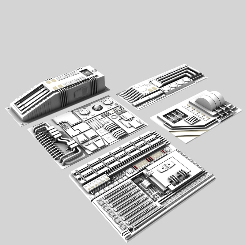 3D sci-fi greebles pack engine model