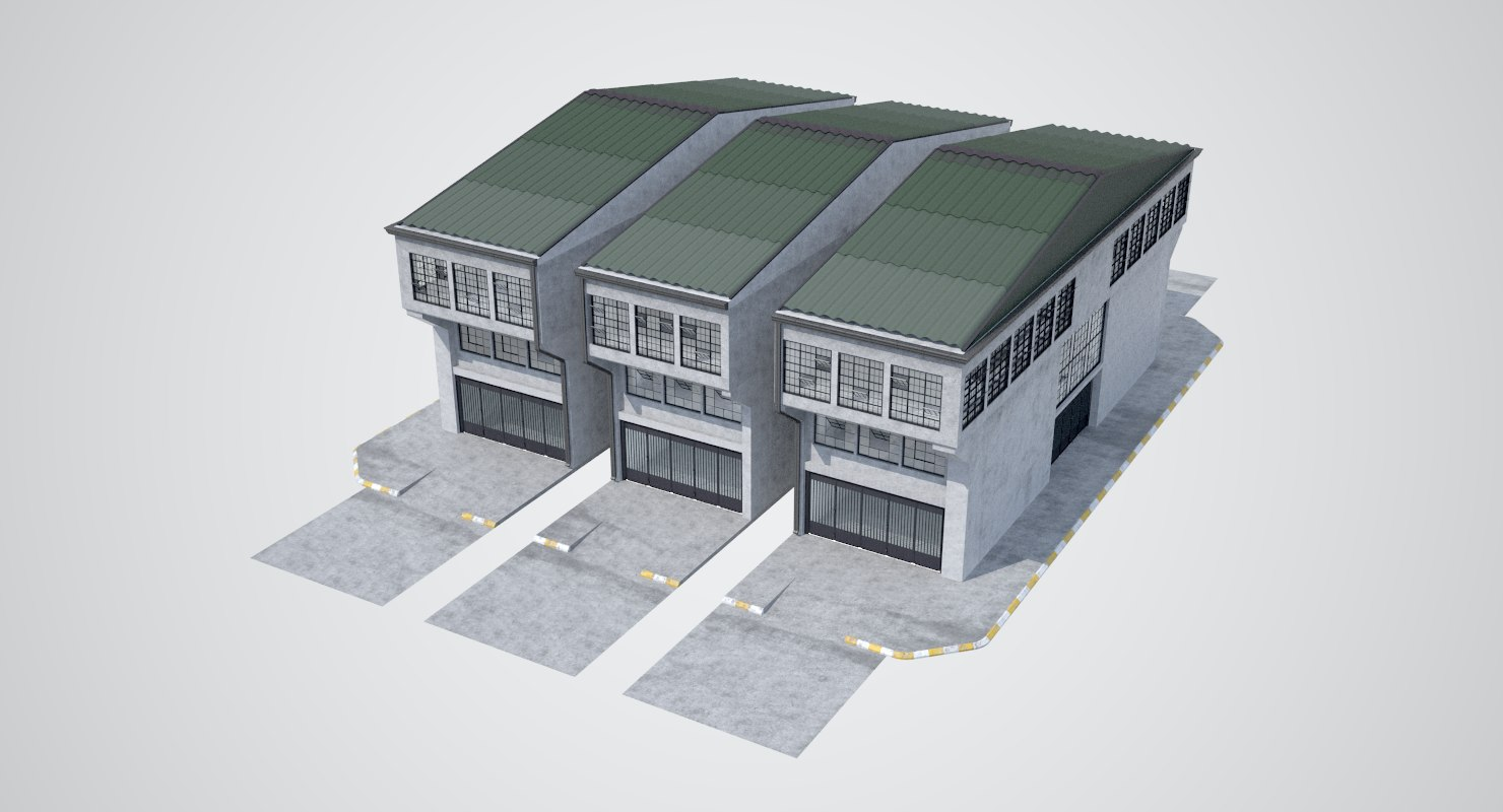 modular industrial building 3D model