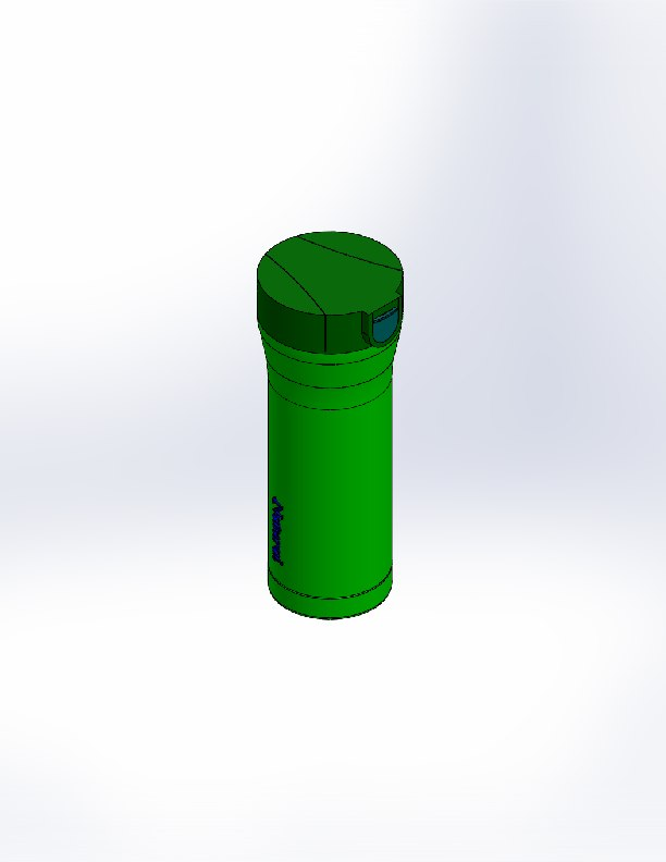 3D green bottle water model