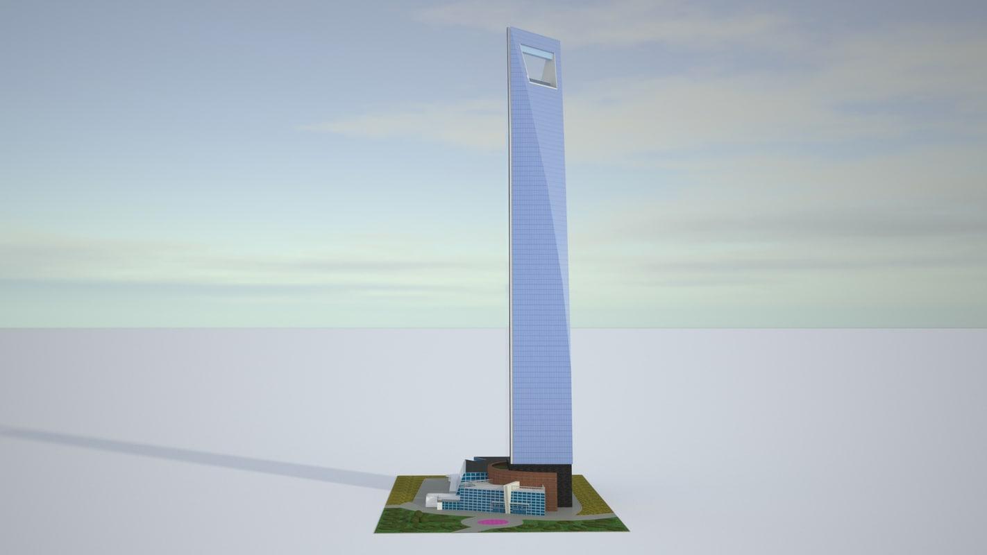 realistic shanghai world financial 3D model