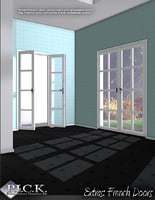 3D sets georgian windows french door