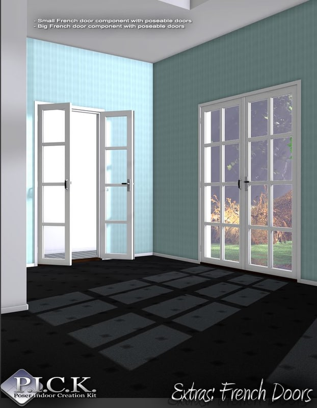 3D sets georgian windows french door