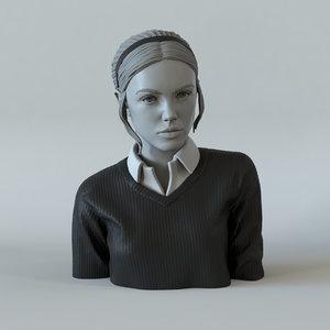 girl ponytail portrait 3D