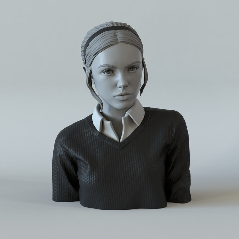 girl ponytail portrait 3D