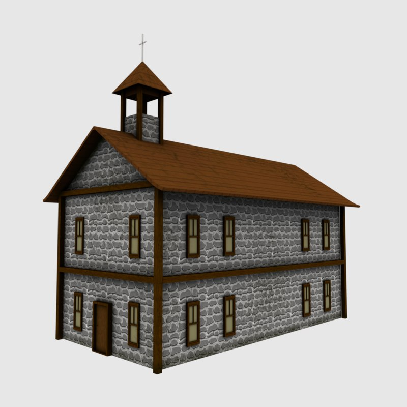 3D cartoon cottage house model