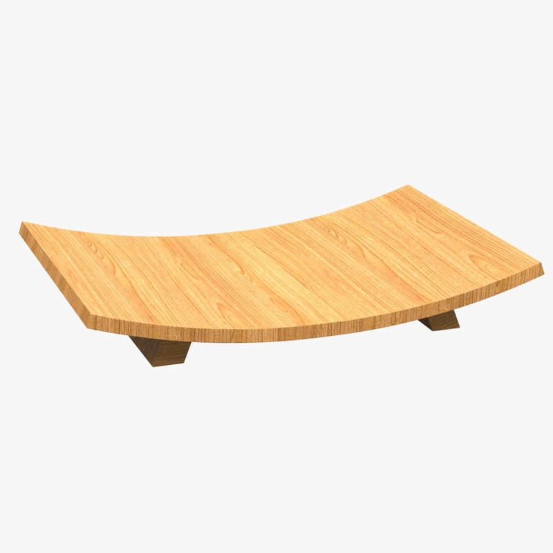 wooden curved tray 3D model