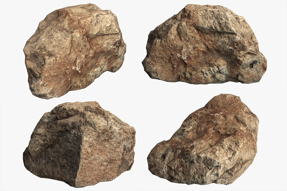 3D boulder stone model