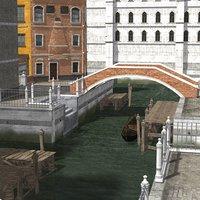 3D architecture canals town poser set