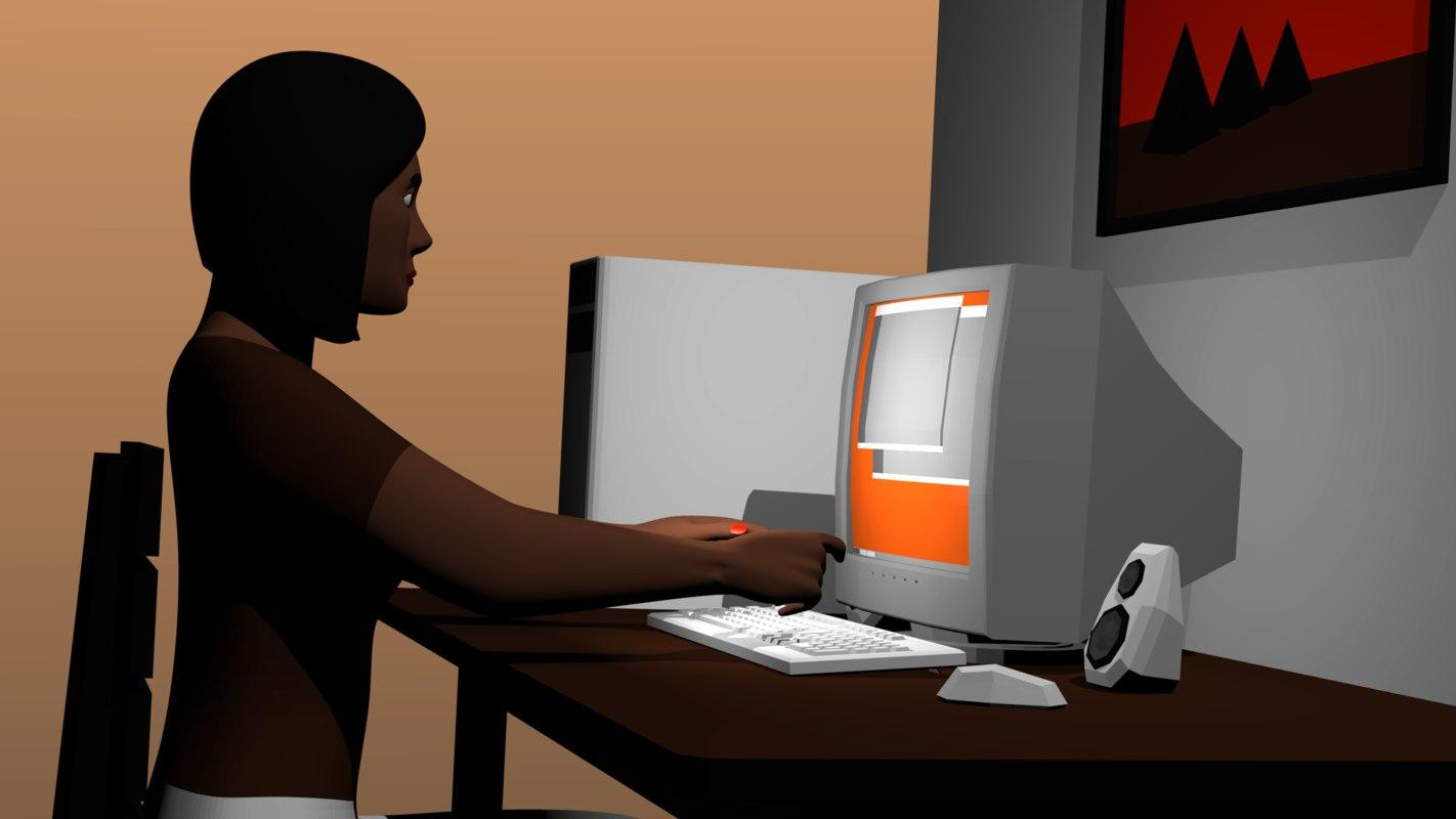 3D model monitors types proportions