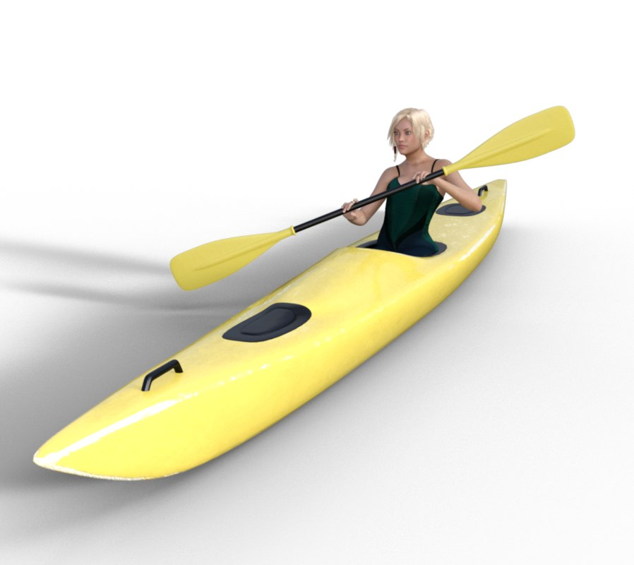 3D kayak girl 1