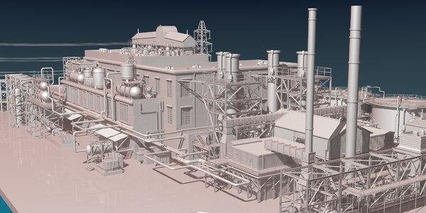 industrial oil refinery 3D