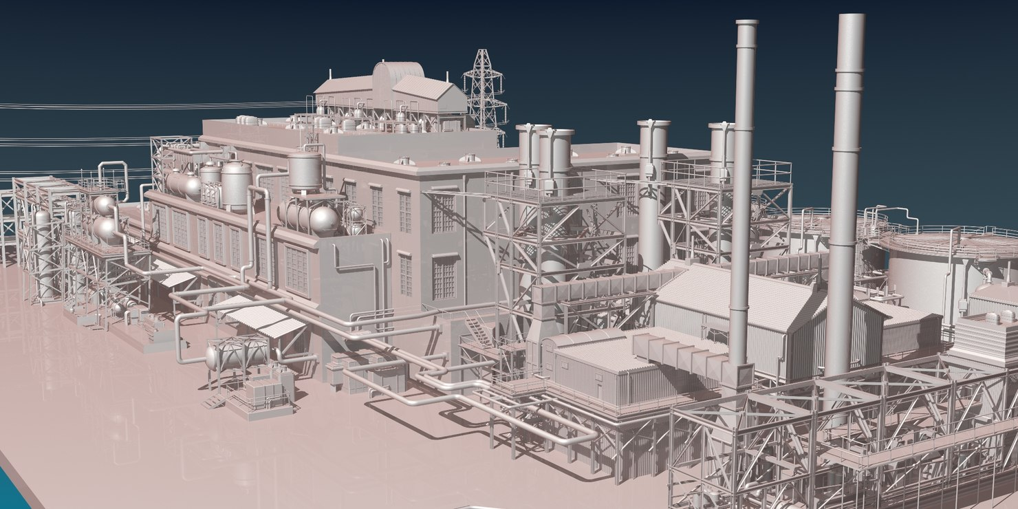 industrial oil refinery 3D