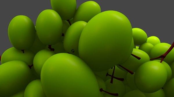 3D grape fruit berry model