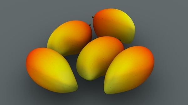 3D mangoes fruit tropical