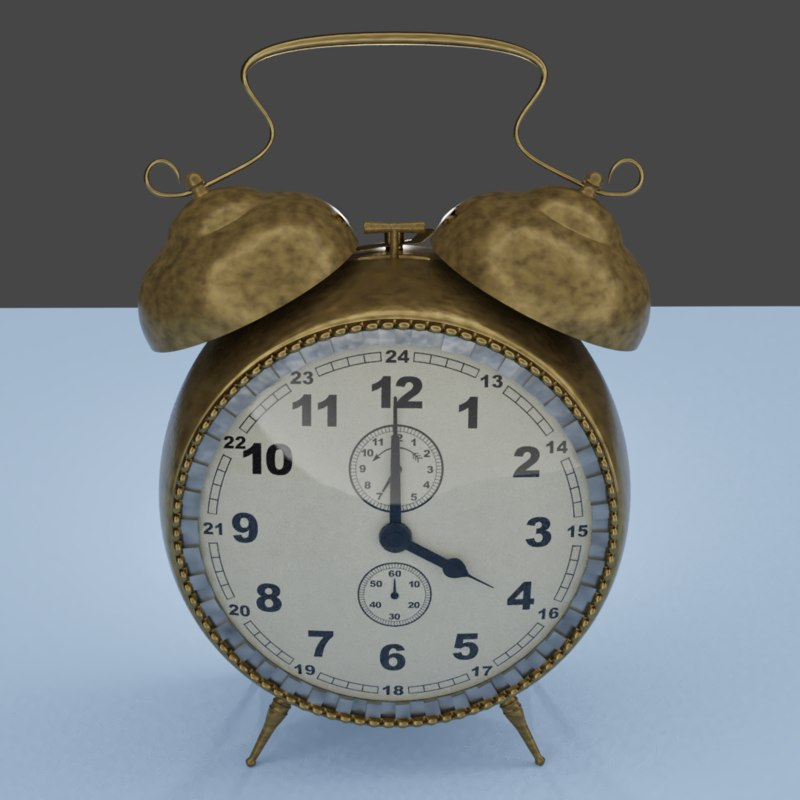 3D vintage alarm clock model