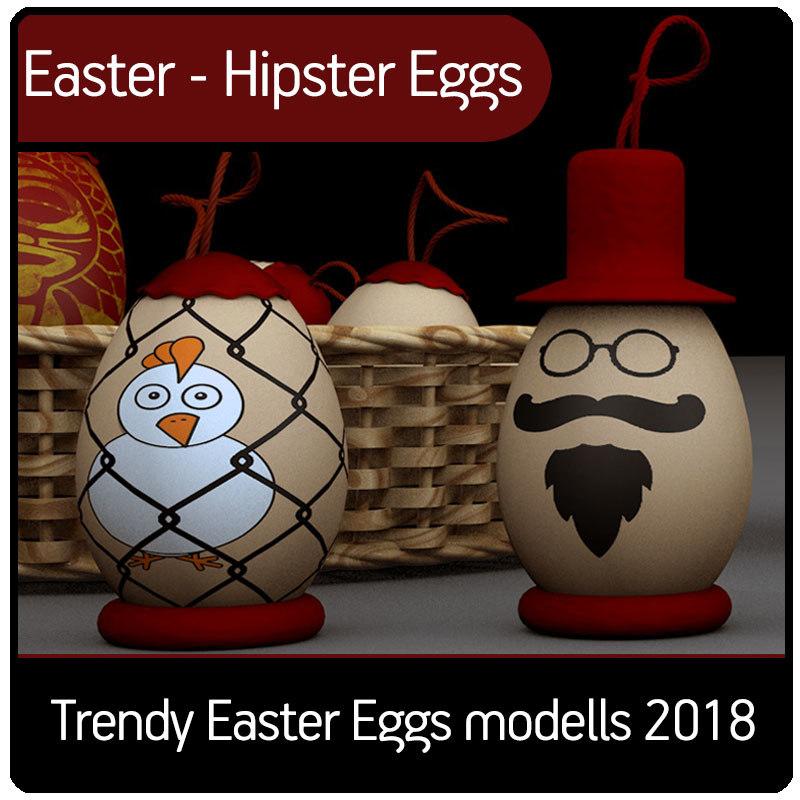 hipster eggs 3D model