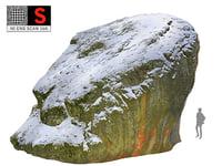3D model rock winter