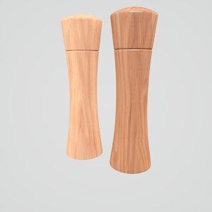 3D wooden salt pepper