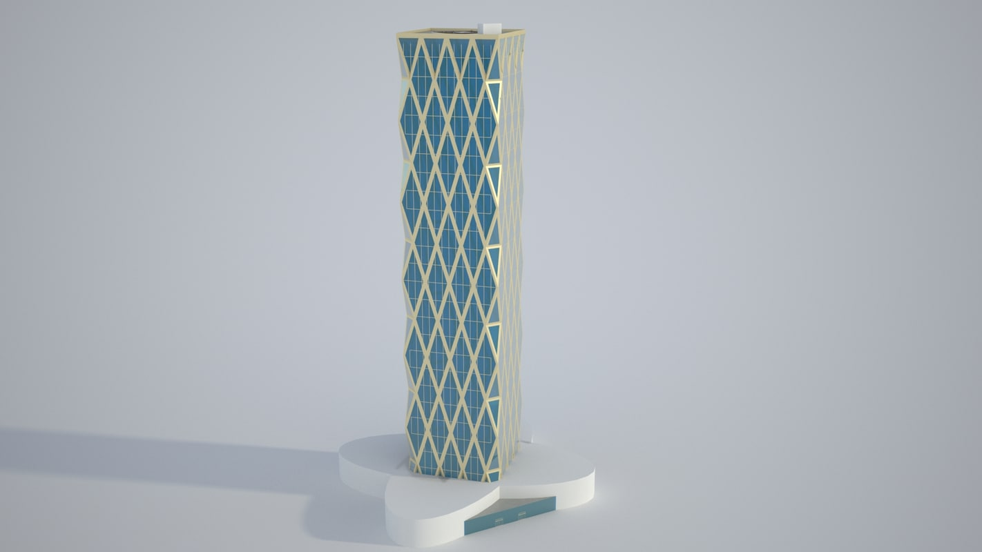 realistic butterfly tower architecture model