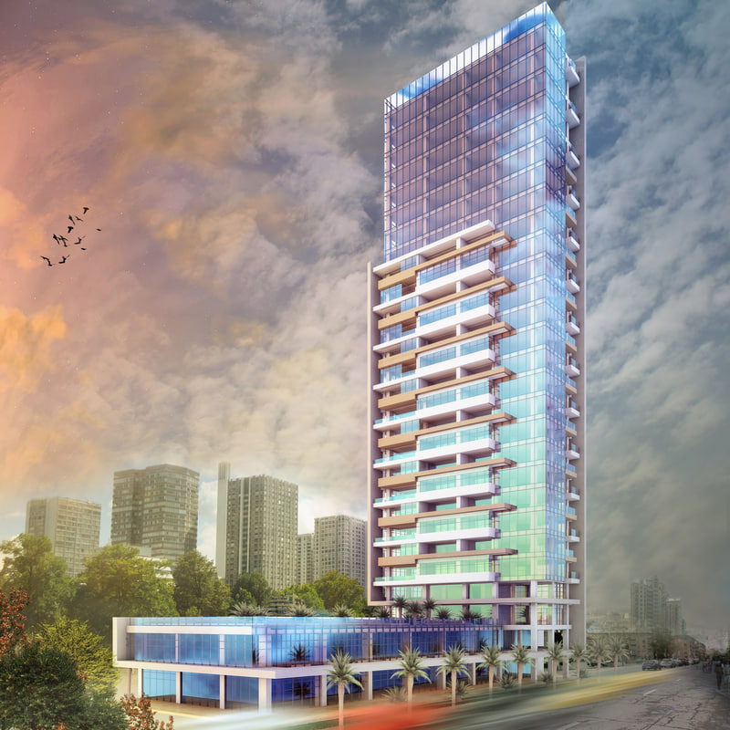 scene modern skyscraper building 3D model
