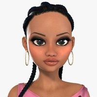 Naomi African Girl Roller Skater Character