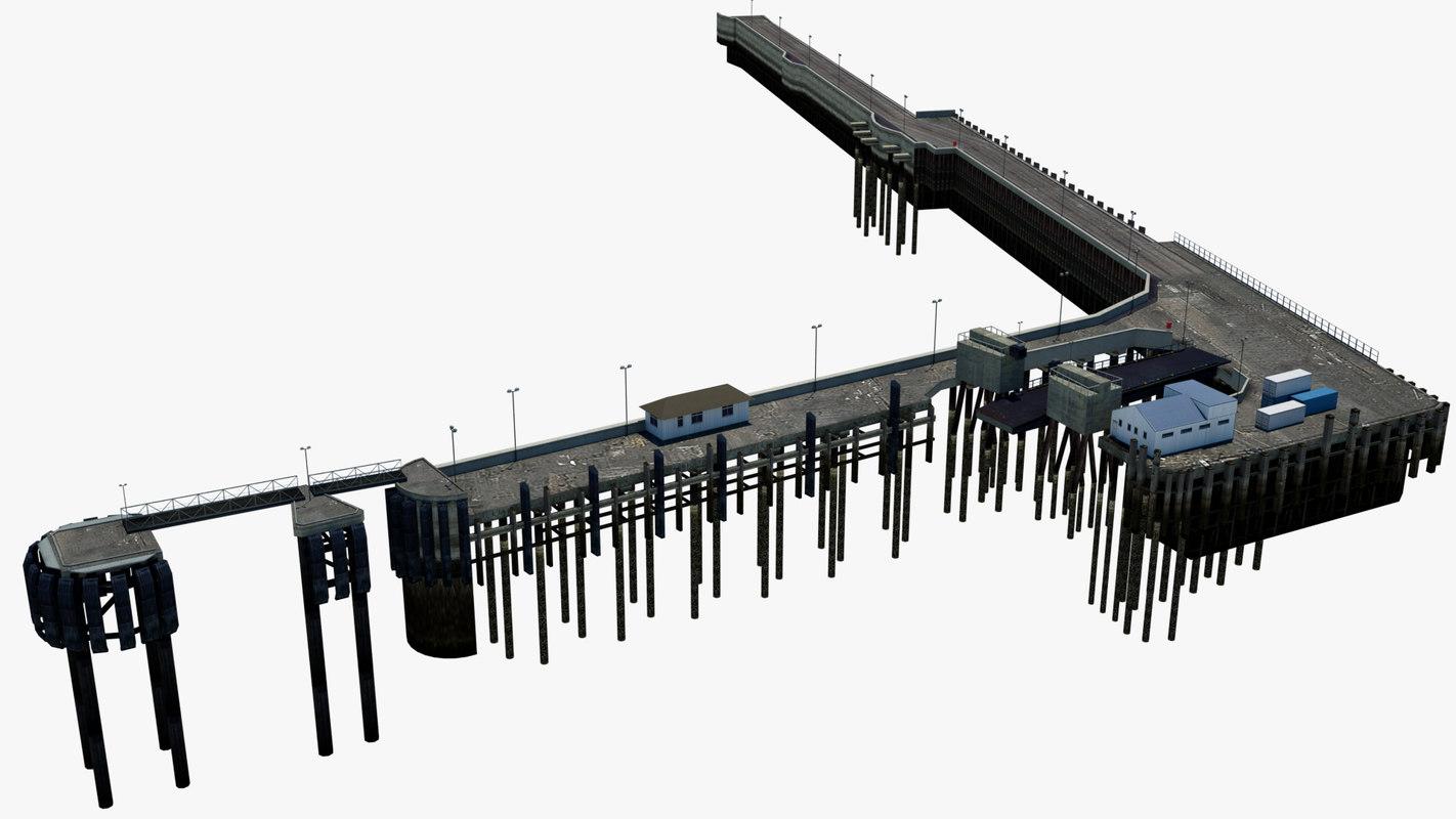pier mooring sea 3D model
