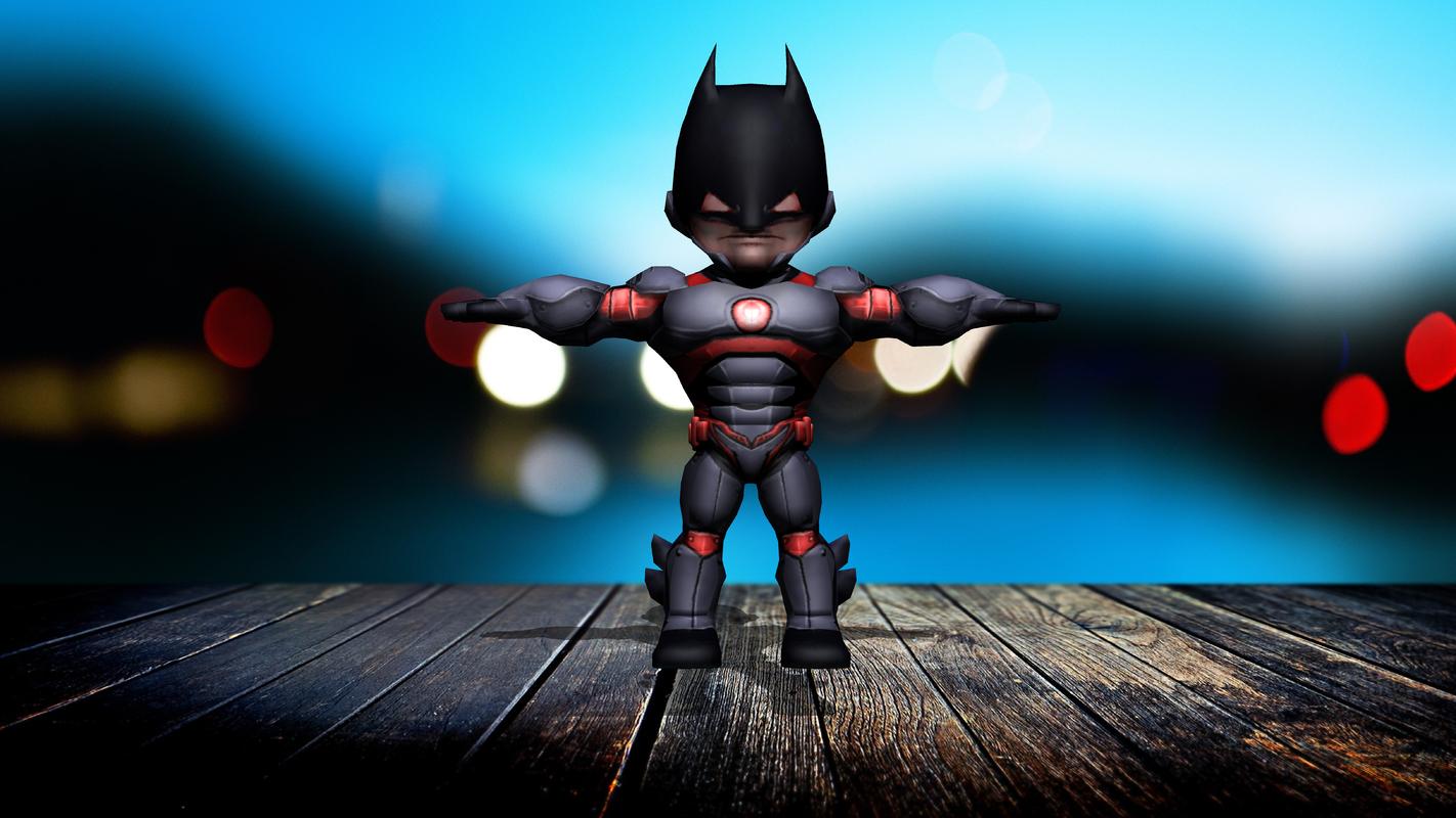 9 cartoonic superhero 3D model
