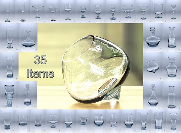 3D decanter wine glass