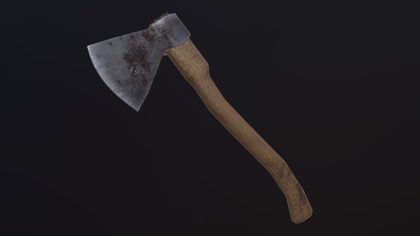 3D model axe old rust