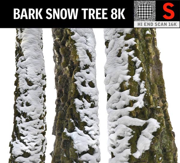 3D bark snow tree 8k
