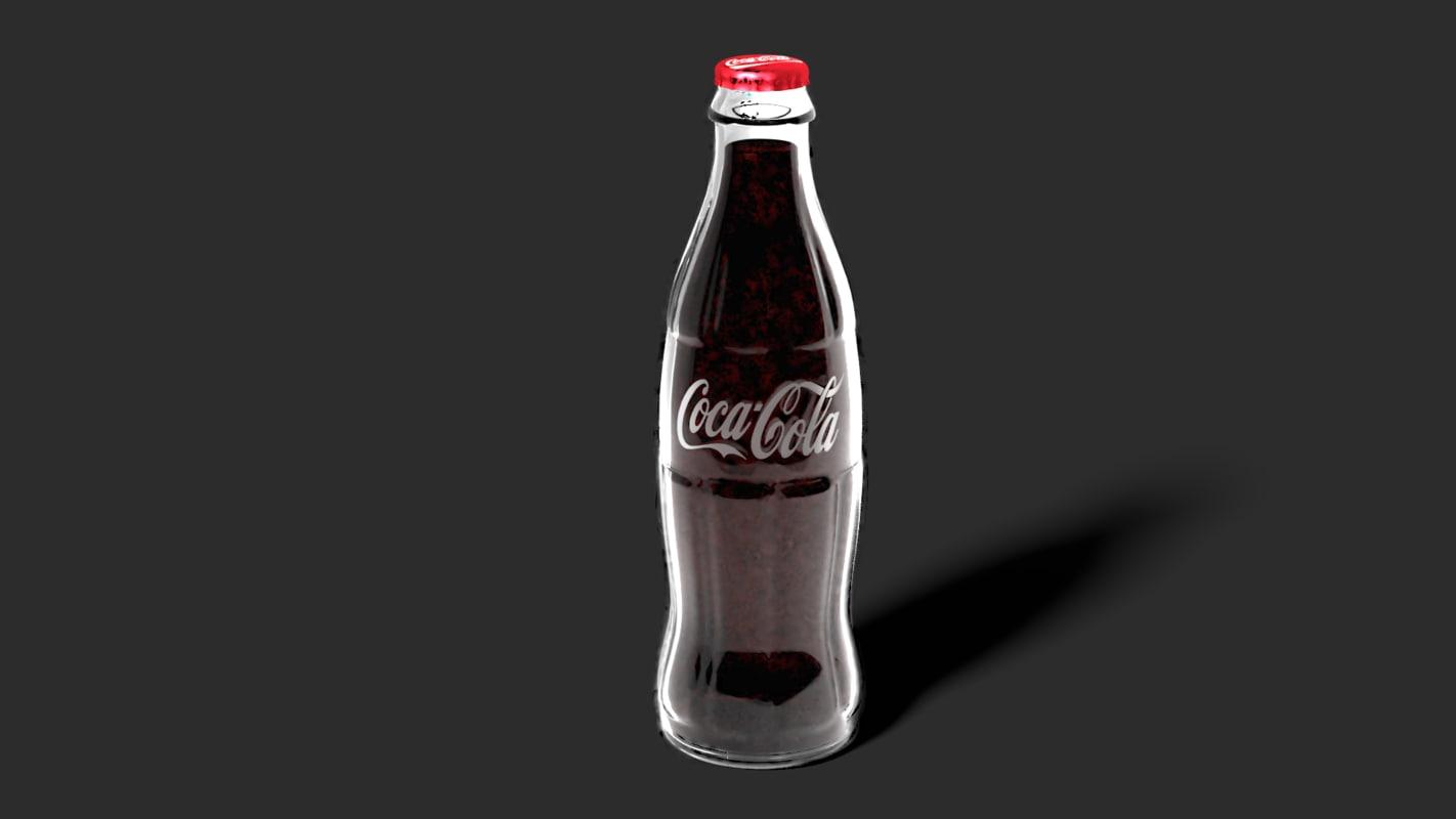 3D glass coca-cola bottle model