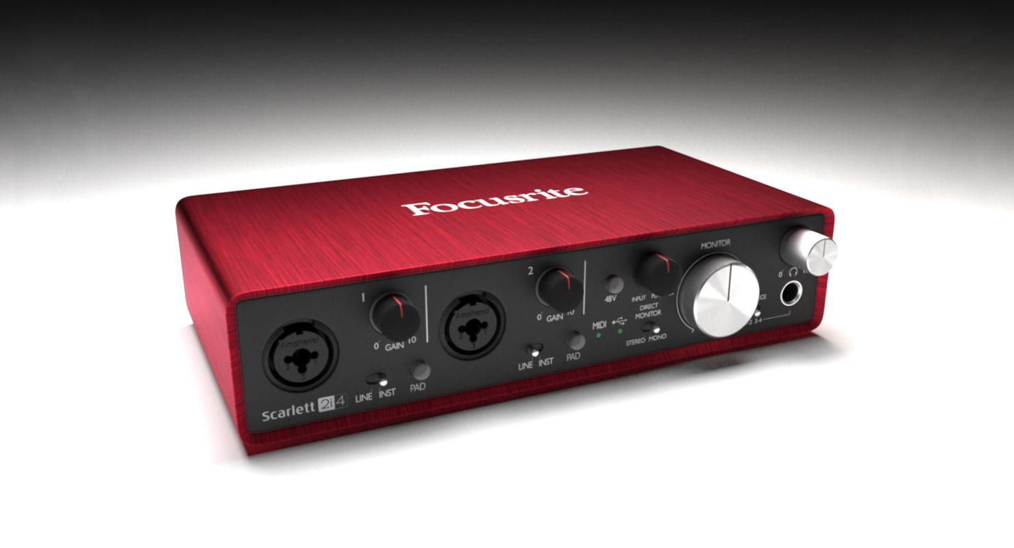 3D model audiointerface focusrite 2i4