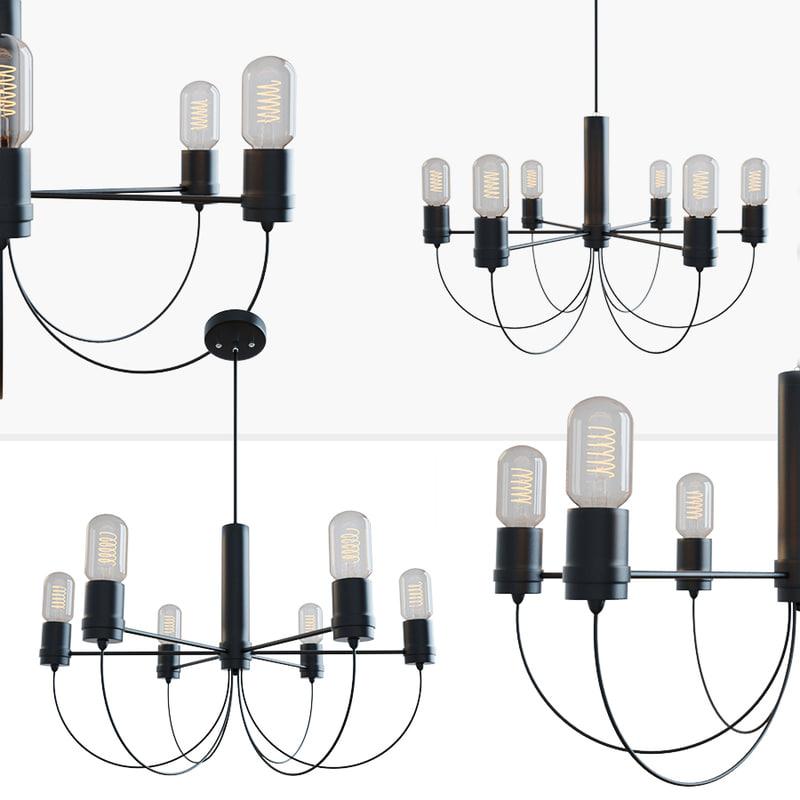 bar loft fountain chandelier 3D model