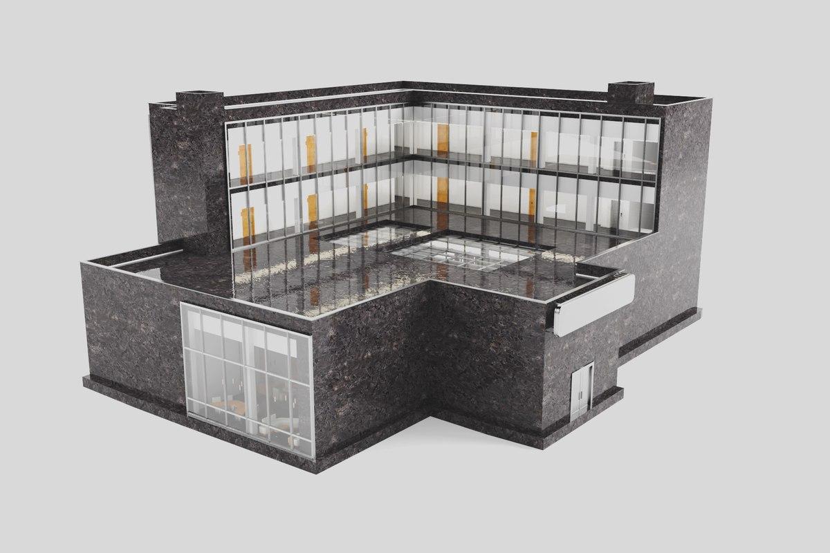 3D boutique hotel interiors exterior