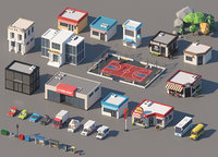Isometric Low Poly City Cartoon Buildings Cars and Forest Pack